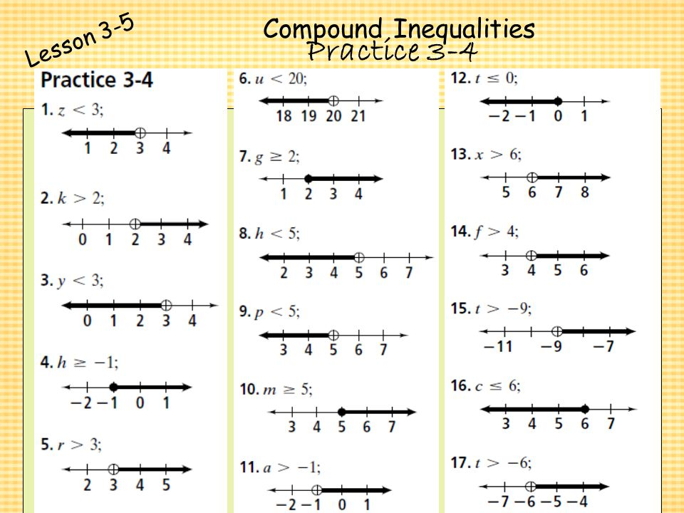 Chapter 3 Algebra I Algebra I Solving Inequalities ppt video – Compound Inequalities Worksheet with Answers
