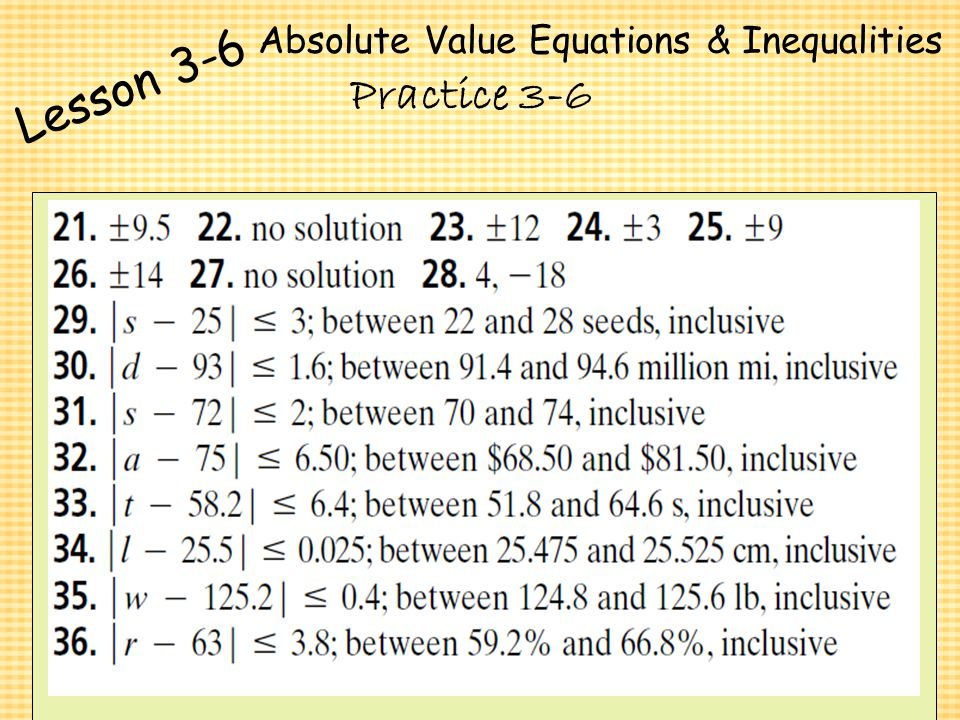 1 6 absolute value equations and inequalities worksheet