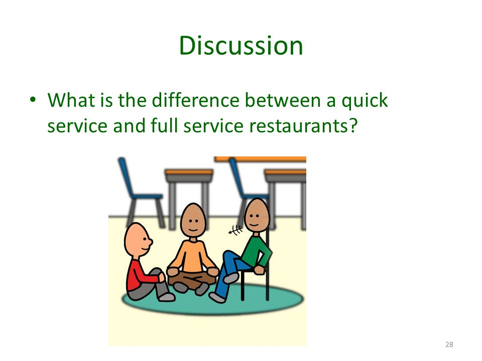 Discussion What is the difference between a quick service and full service restaurants