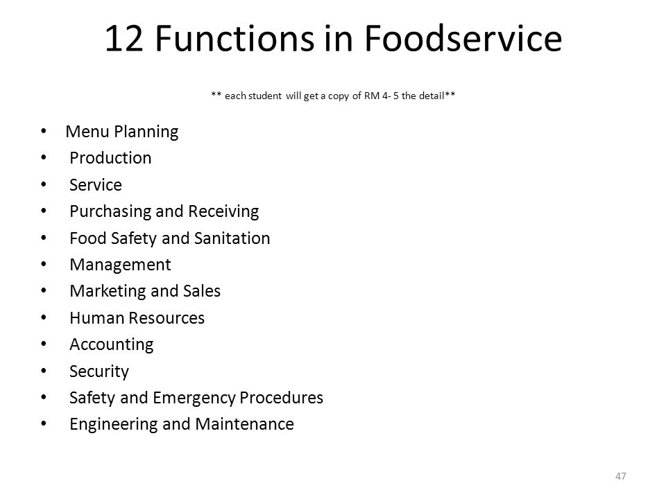 12 Functions in Foodservice