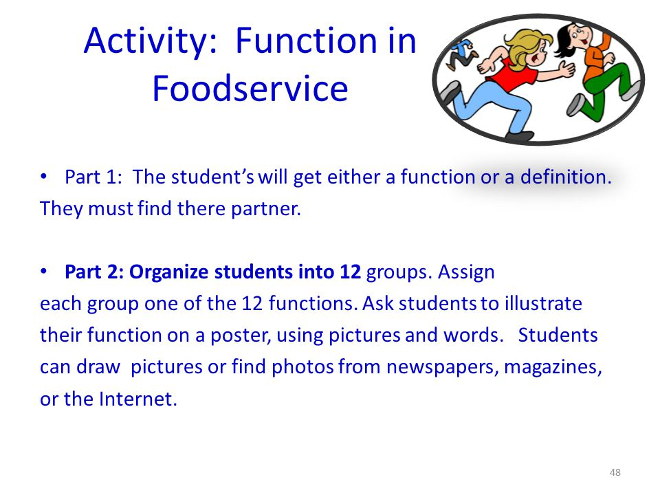 Activity: Function in Foodservice