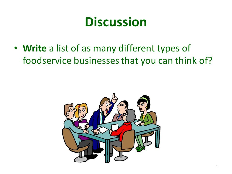 Discussion Write a list of as many different types of foodservice businesses that you can think of