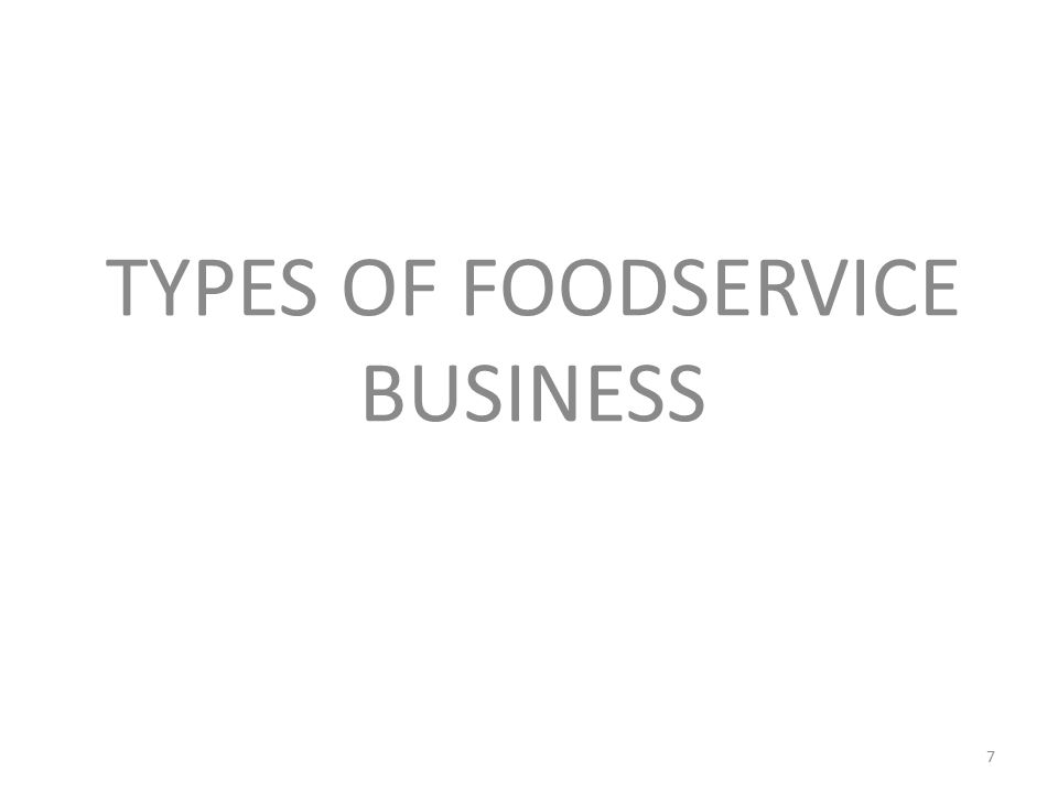 TYPES OF FOODSERVICE BUSINESS