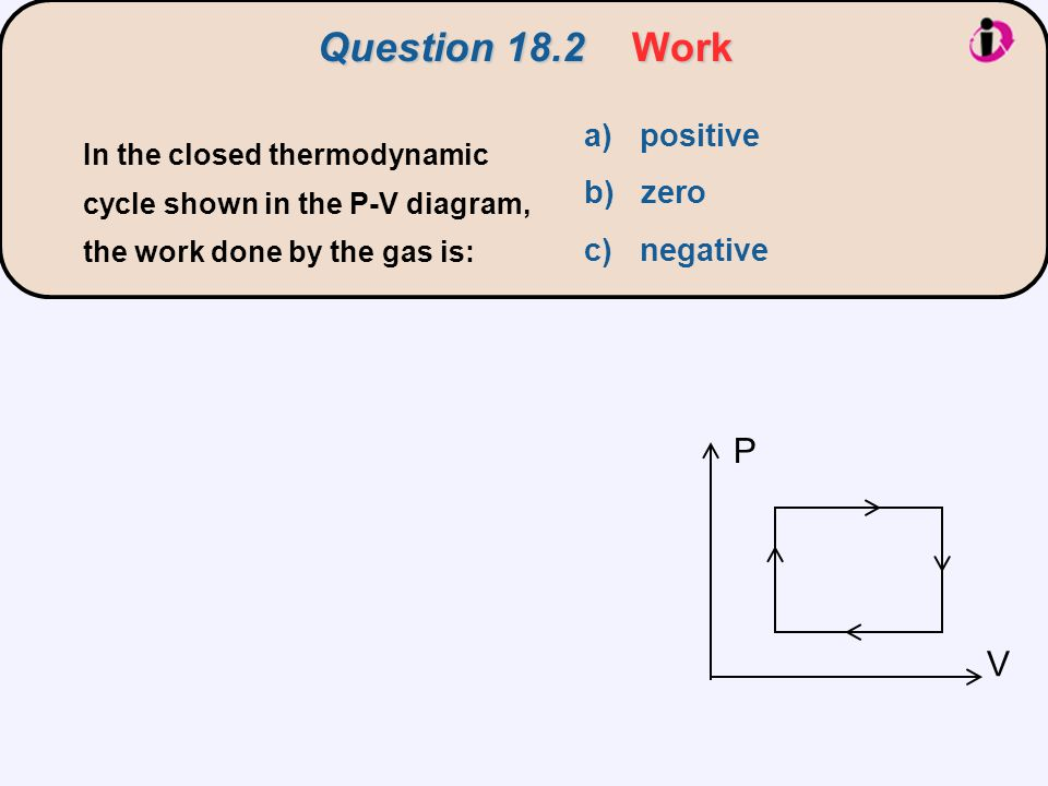Question 18.2 Work P V a) positive b) zero c) negative