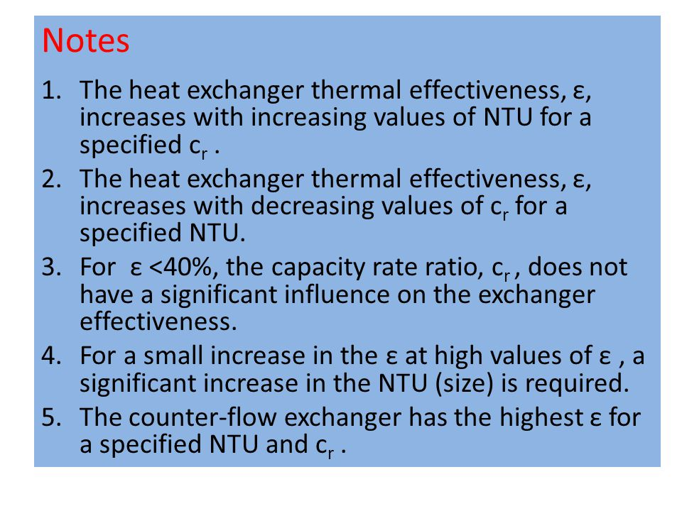 Notes The heat exchanger thermal effectiveness, ε, increases with increasing values of NTU for a specified cr .