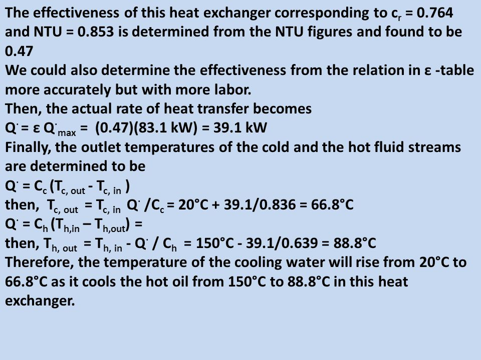 The effectiveness of this heat exchanger corresponding to cr = 0