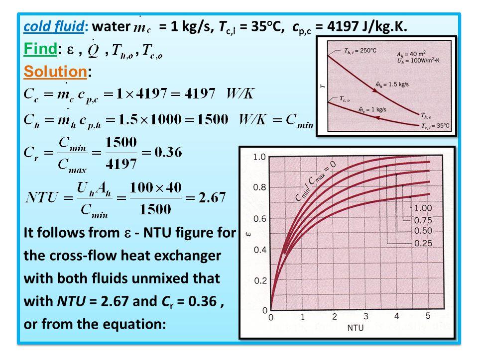 cold fluid: water = 1 kg/s, Tc,i = 35oC, cp,c = 4197 J/kg.K.