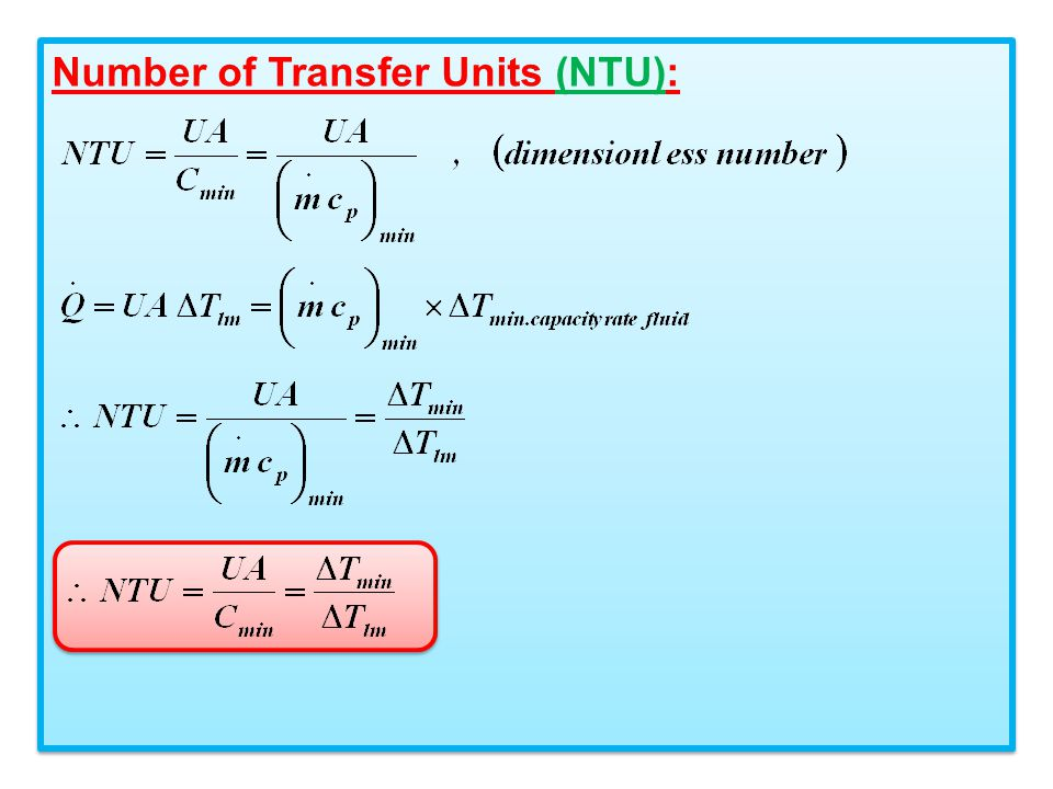 Number of Transfer Units (NTU):