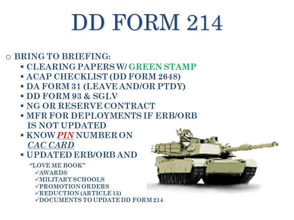 TRANSITION CENTER BRIEFING ppt download – Dd 214 Worksheet