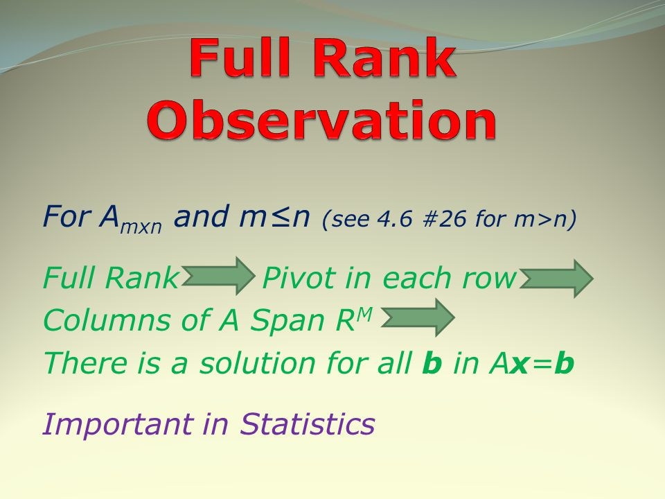 Full Rank Observation For Amxn and m≤n (see 4.6 #26 for m>n)