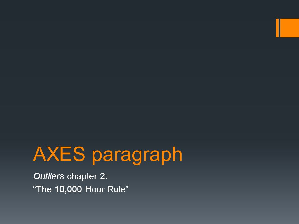 outliers chapter 2 thesis Buy outliers: the story of success on amazoncom free shipping on qualified orders.