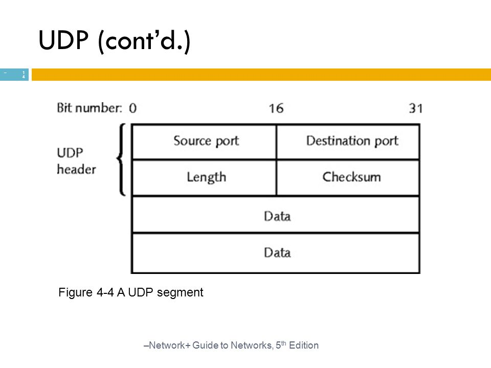 UDP (cont'd.) Figure 4-4 A UDP segment