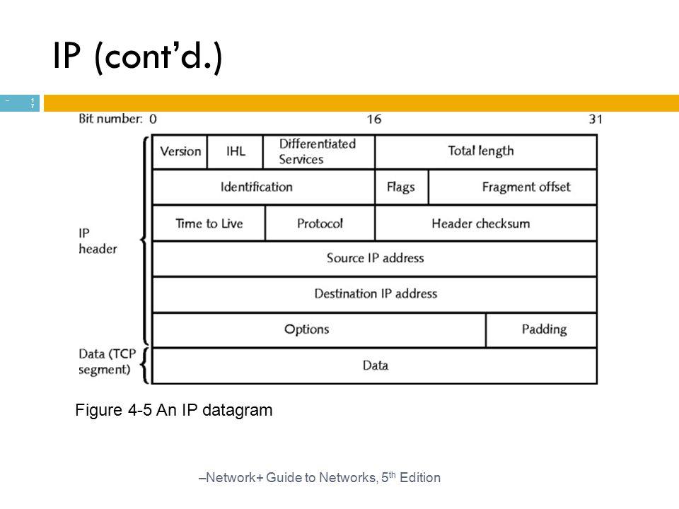 IP (cont'd.) Figure 4-5 An IP datagram