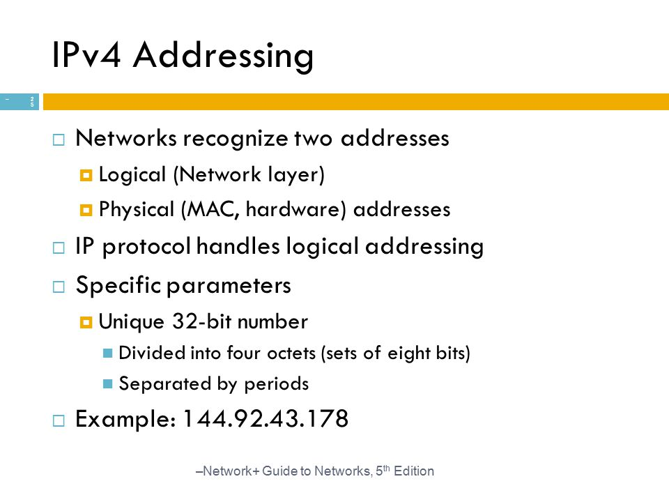 IPv4 Addressing Networks recognize two addresses