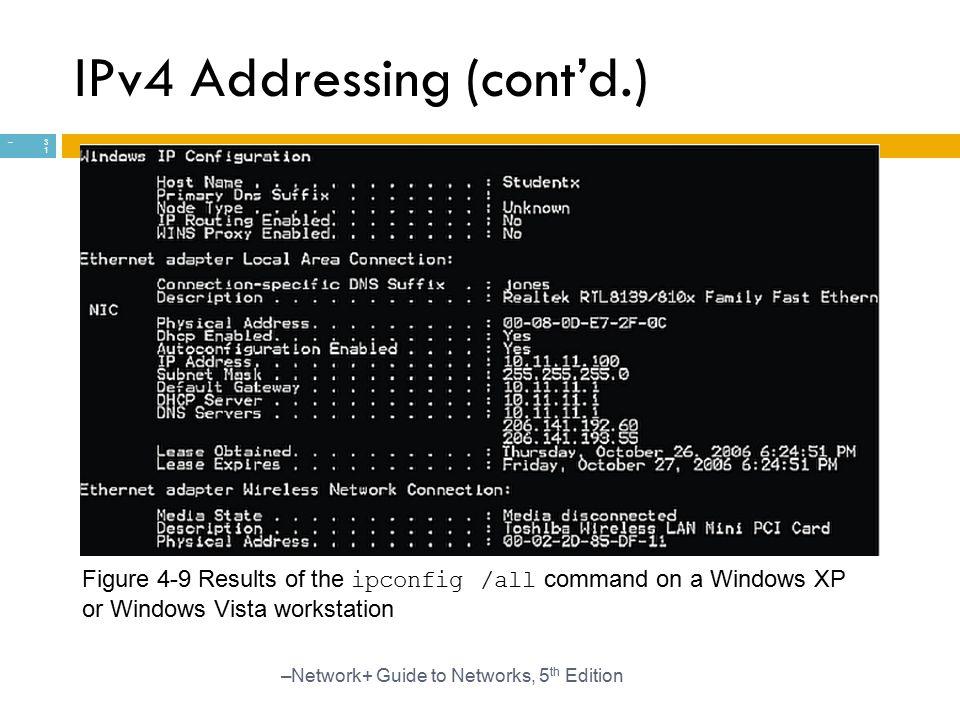 IPv4 Addressing (cont'd.)