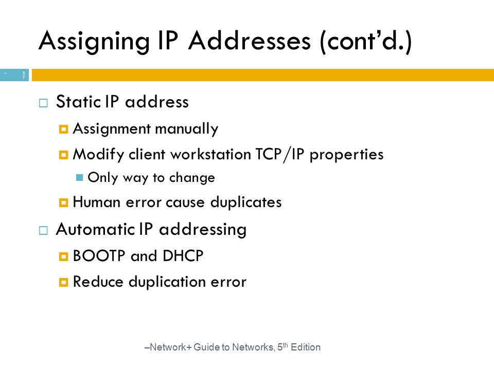 Assigning IP Addresses (cont'd.)