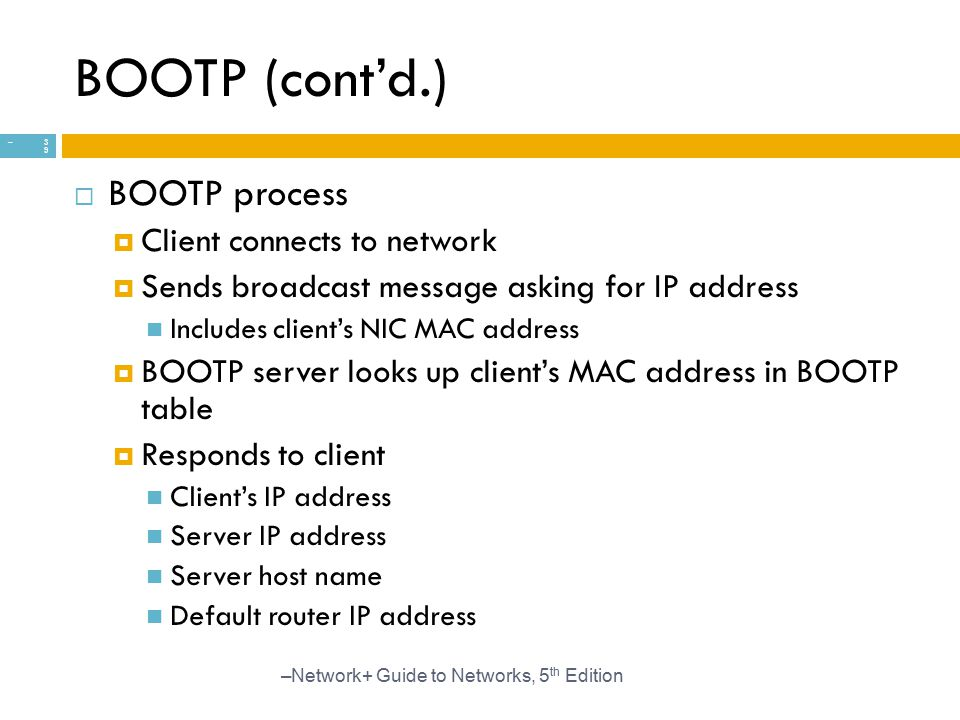 BOOTP (cont'd.) BOOTP process Client connects to network