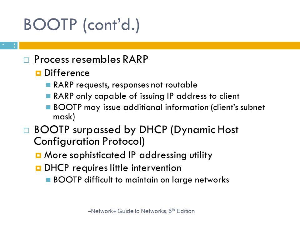BOOTP (cont'd.) Process resembles RARP