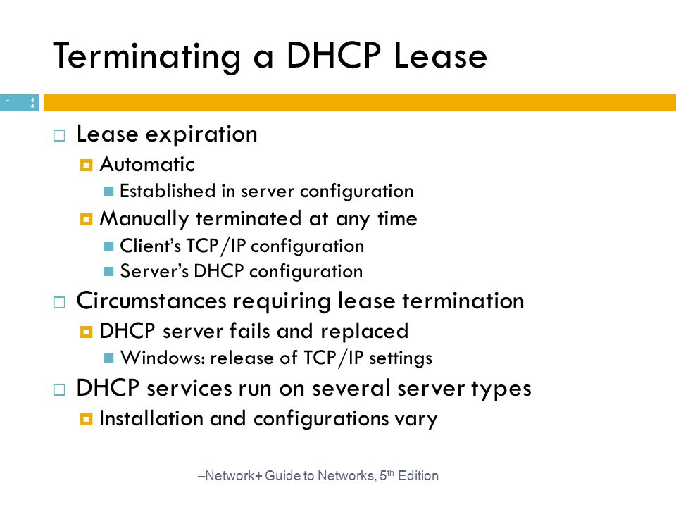 Terminating a DHCP Lease