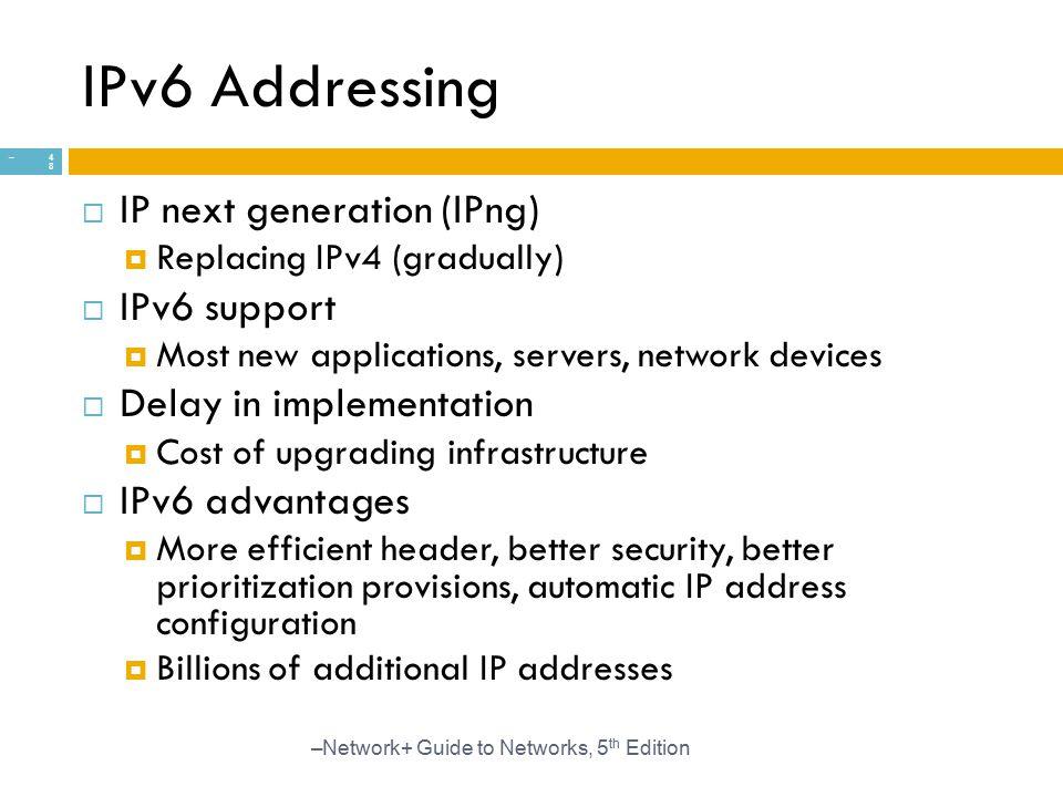 IPv6 Addressing IP next generation (IPng) IPv6 support