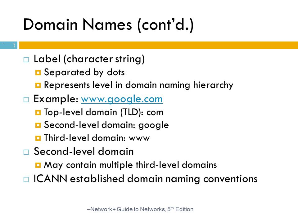 Domain Names (cont'd.) Label (character string)