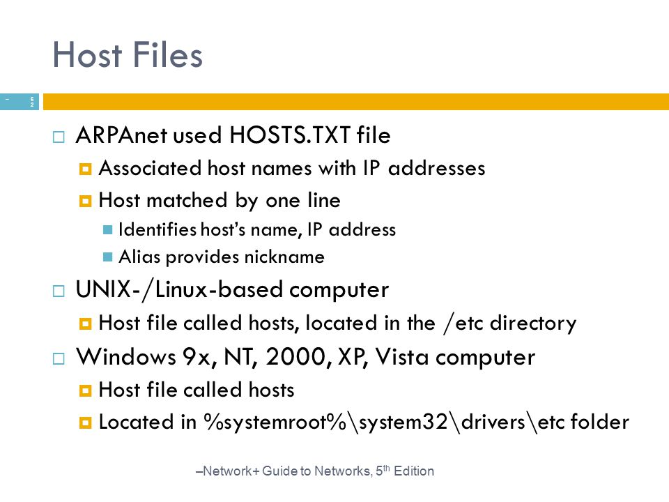 Host Files ARPAnet used HOSTS.TXT file UNIX-/Linux-based computer