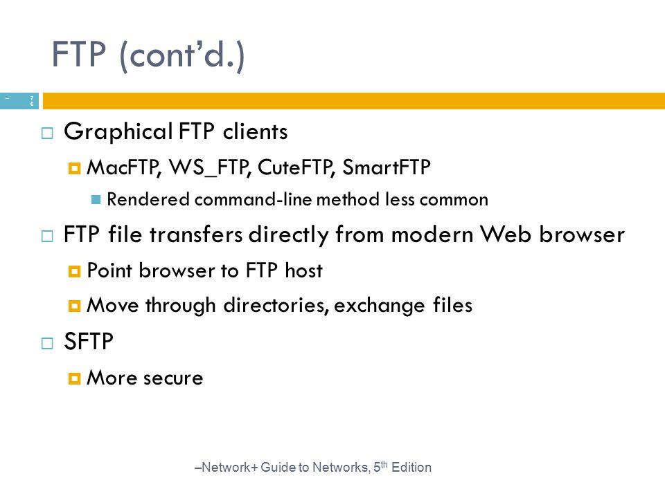 FTP (cont'd.) Graphical FTP clients