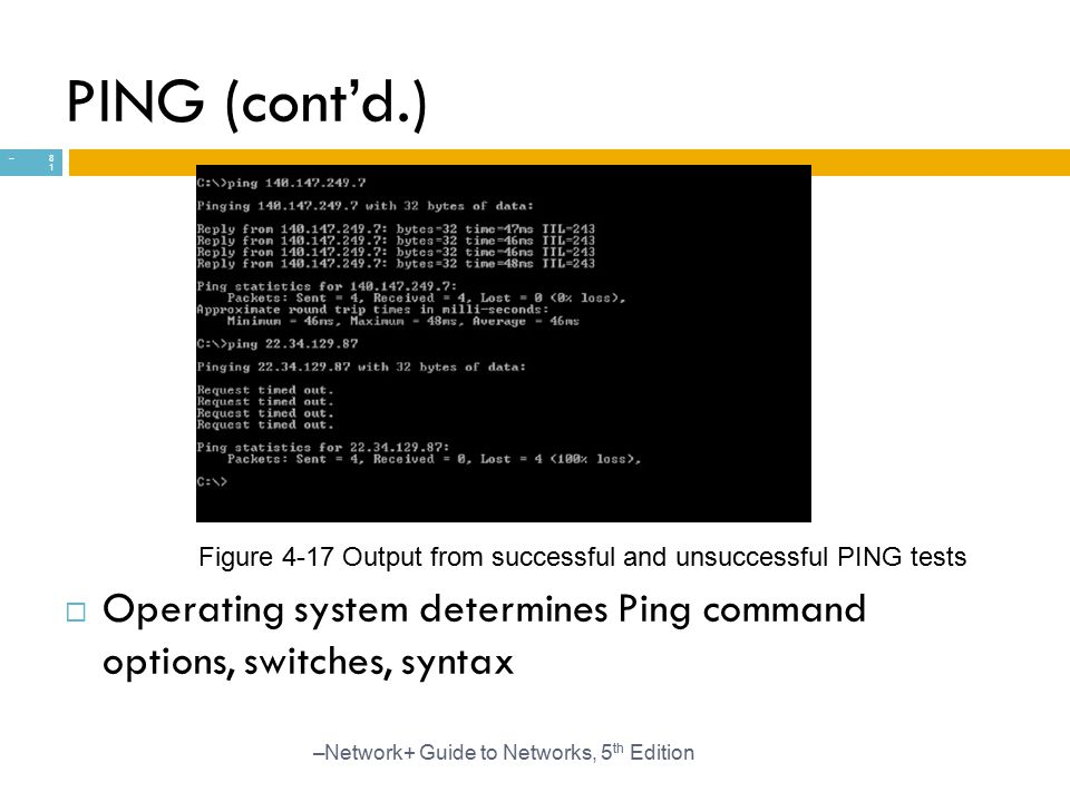 PING (cont'd.) Figure 4-17 Output from successful and unsuccessful PING tests. Operating system determines Ping command options, switches, syntax.
