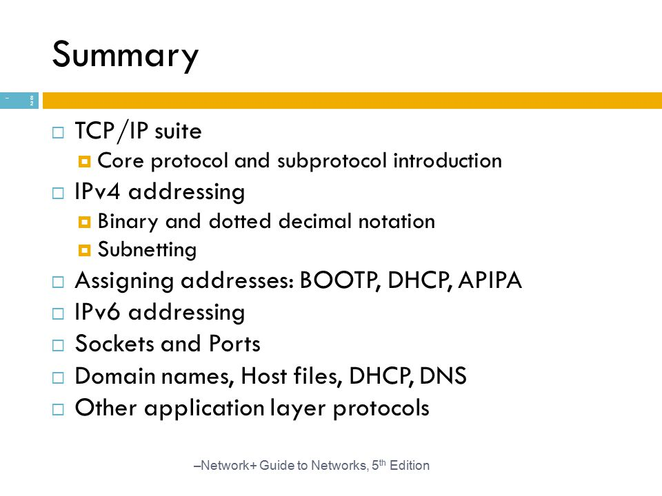 Summary TCP/IP suite IPv4 addressing