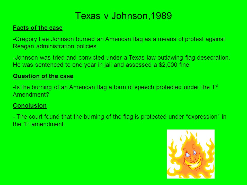 gregory lee johnson sentenced by court for burning american flag And sometimes it is a young man burning a draft card or a flag  in fact, in  september 2010, supreme court justice stephen breyer first told abc news   he was later arrested, fined $1,000, and sentenced to one to 10 years in prison  for  national convention in texas, gregory lee johnson set an american flag  on fire.