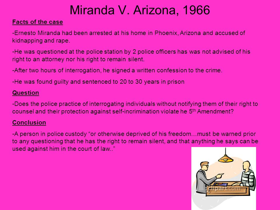 a report on the case of miranda versus the state of arizona The case miranda v arizona: a primer  miranda warnings and the bill of  conduct a mini-moot court in triads according to the instructions in miranda v arizona:.