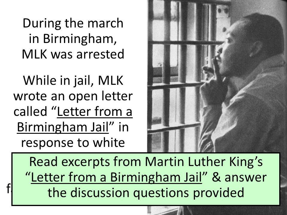 A discussion on martin luther king jrs letter from birmingham jail and fight for equality