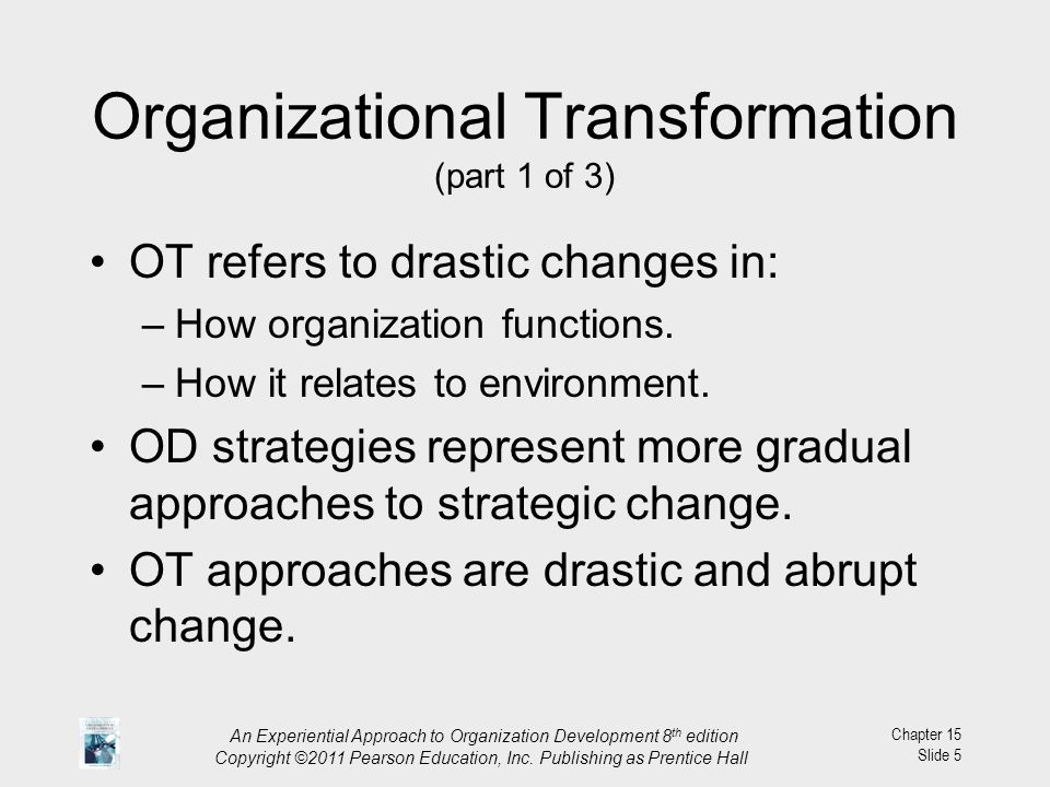 organisation change development transformation essay The difference between change and transformation by john palinkas think of all of the change management processes and procedures in an it organization.