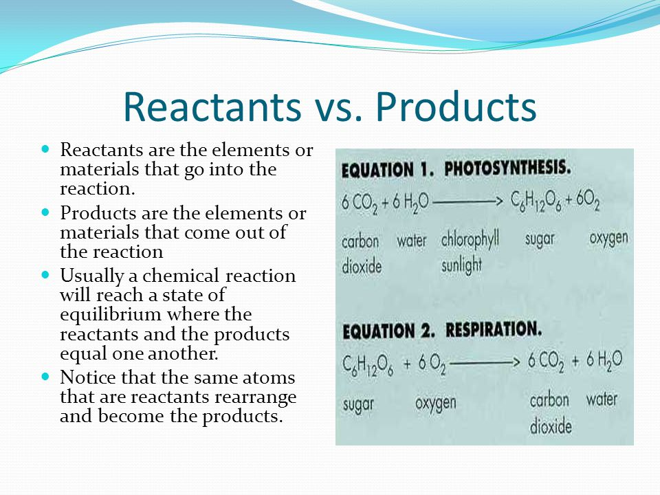 Reactants vs. Products Reactants are the elements or materials that go into the reaction.