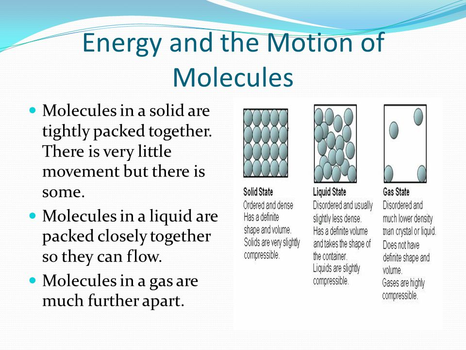 Energy and the Motion of Molecules