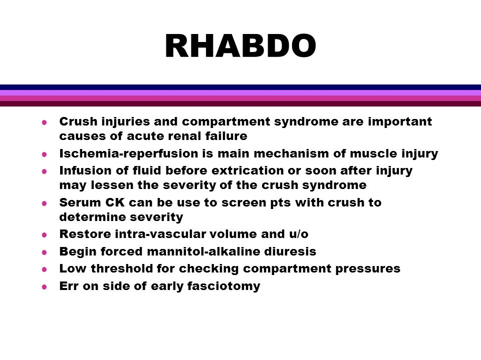 relationship between compartment syndrome and rhabdomyolysis