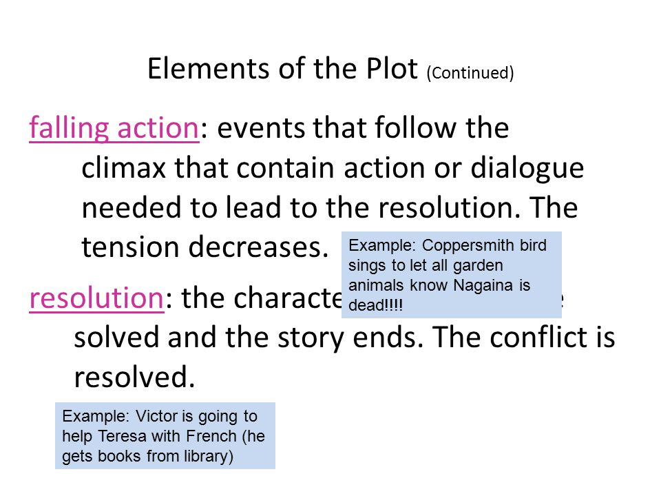 examples of falling action in literature