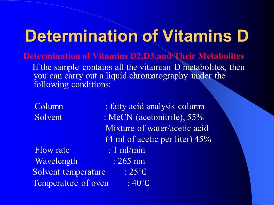 Determination of Vitamins D