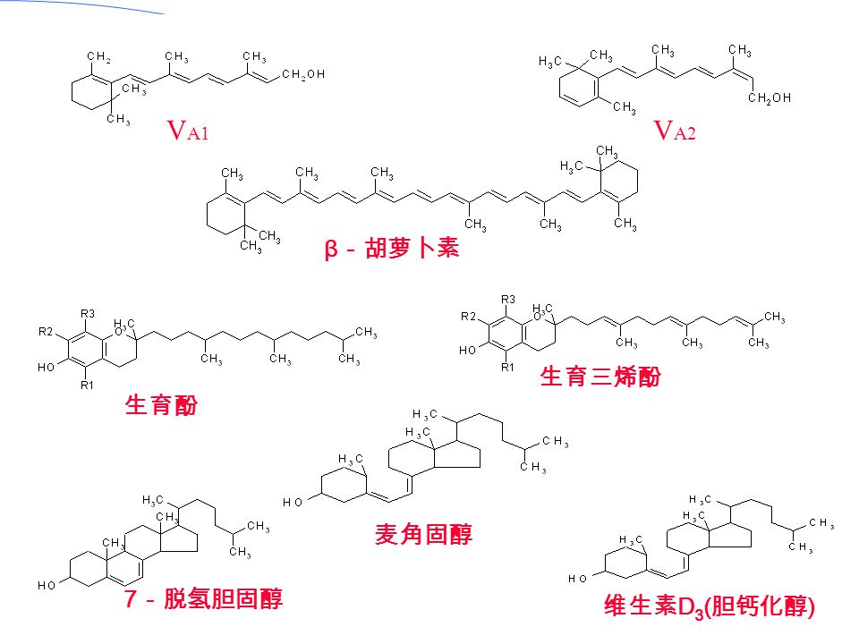 VA1 VA2 β-胡萝卜素 生育三烯酚 生育酚 麦角固醇 7-脱氢胆固醇 维生素D3(胆钙化醇)