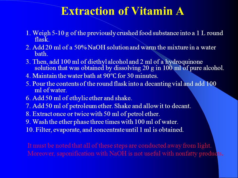 Extraction of Vitamin A