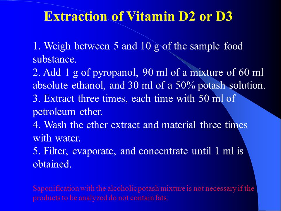 Extraction of Vitamin D2 or D3