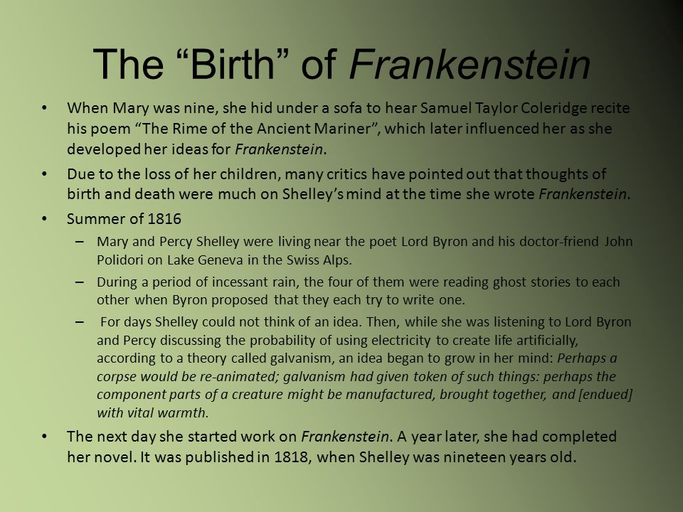 frankenstein intelligence essay Essay title: frankenstein a swiss proverb once enlightened, when one shuts one eye, one does not hear everything (worldofquotescom 1) consequently, vision is the primary sense of mankind and often the solitary basis of judgment.