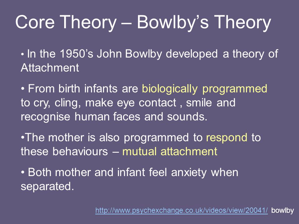 john bowlby s theory of attachment do Attachment: clinical perspectives issue: bcmj, vol 49, no 3 john bowlby, pioneer of attachment theory maternal availability and attitude conducive to sustaining a healthy ongoing relationship provided the foundation for attachment theory bowlby's attention was on the.