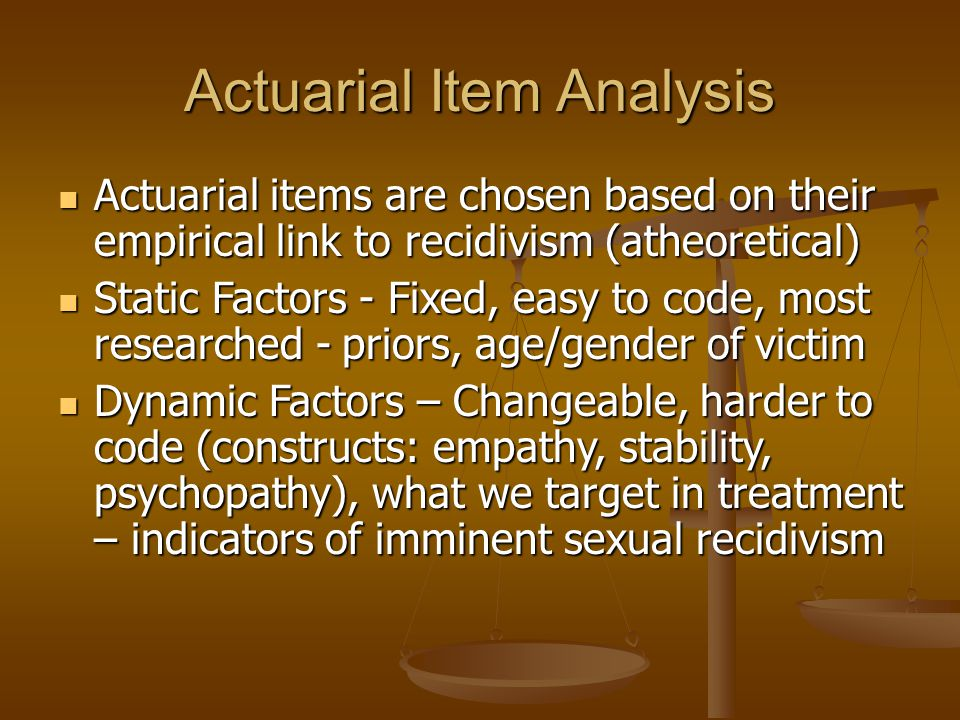 Actuarial psychological tests sex offender