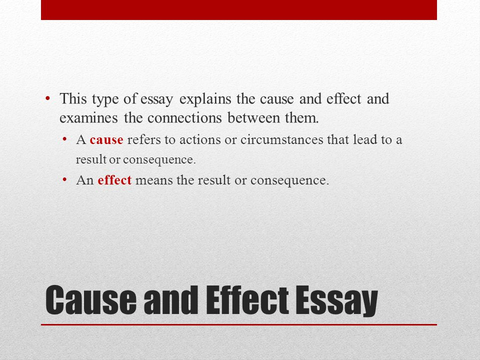 cause in effect essay