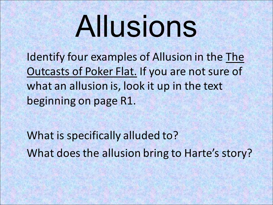 the outcast and virtuous traits in the story the outcasts of poker flat Total opposites in the short story the outcasts of poker flat by bret harte, the author uses characters in the story that have very similar characteristics, except for one, uncle billy.