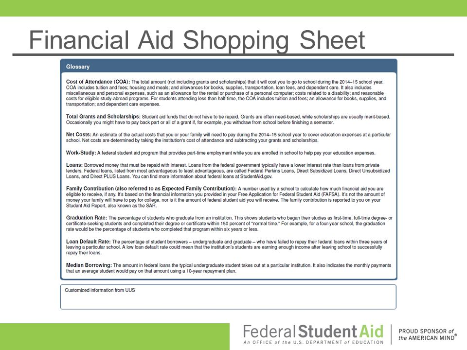 50 Financial Aid Shopping Sheet