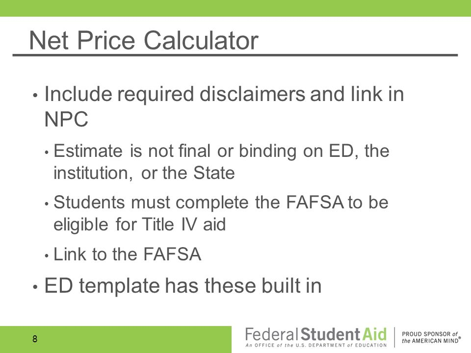 Consumer disclosure requirements and tools ppt video for Net price calculator template