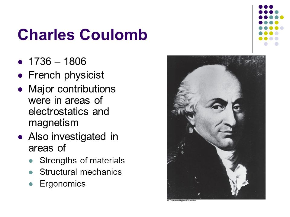 Charles Coulomb 1736 – 1806 French physicist