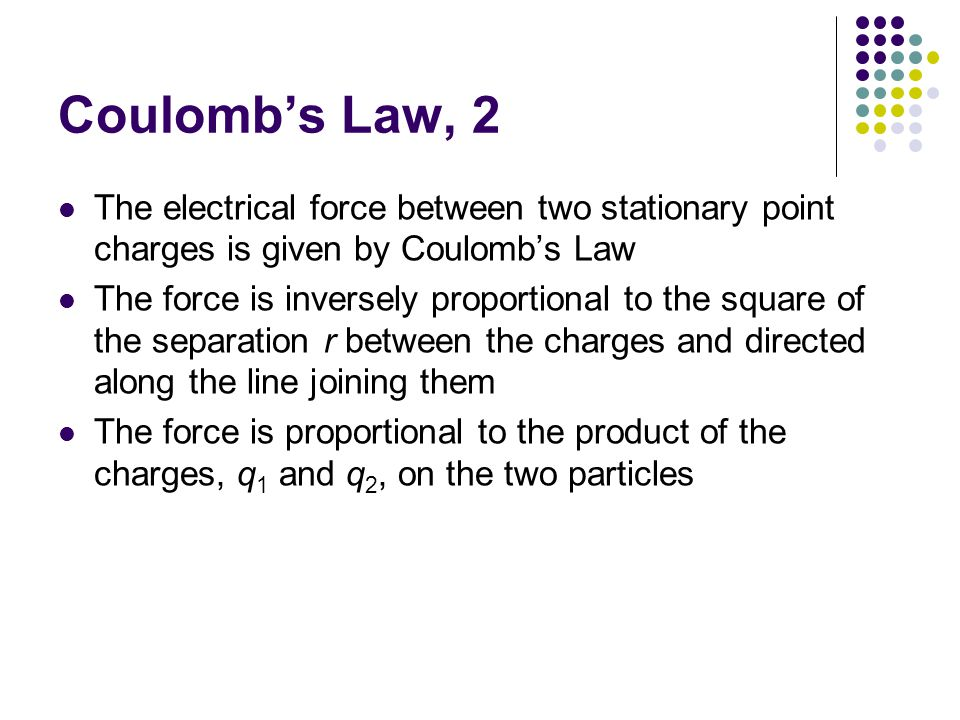 Coulomb's Law, 2 The electrical force between two stationary point charges is given by Coulomb's Law.